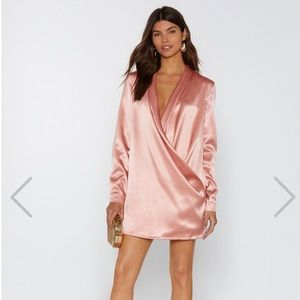 Rose satin shirt dress